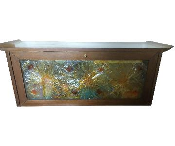 Wood & Multi-Colored Glass Storage Chests