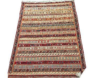 Persian Flat-Weave Silk & Cotton Blend Twin Carpet