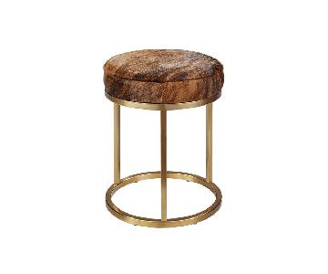 CB2 Cow Hide & Brass Upholstered Stool