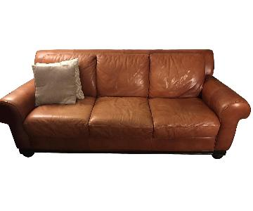 Bloomingdale's Orange Leather 3 Seater Sofa