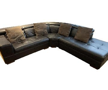 Nicoletti Top Grain Leather Adjustable Back Sectional Sofa