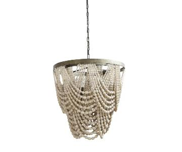 Metal & Wood Bead Draped 3 Light Chandelier