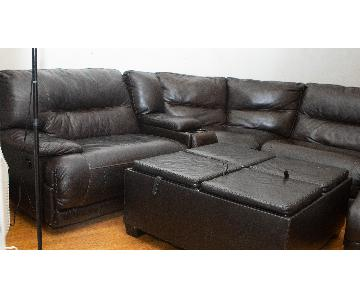 Dark Brown Reclining Sectional w/ Console