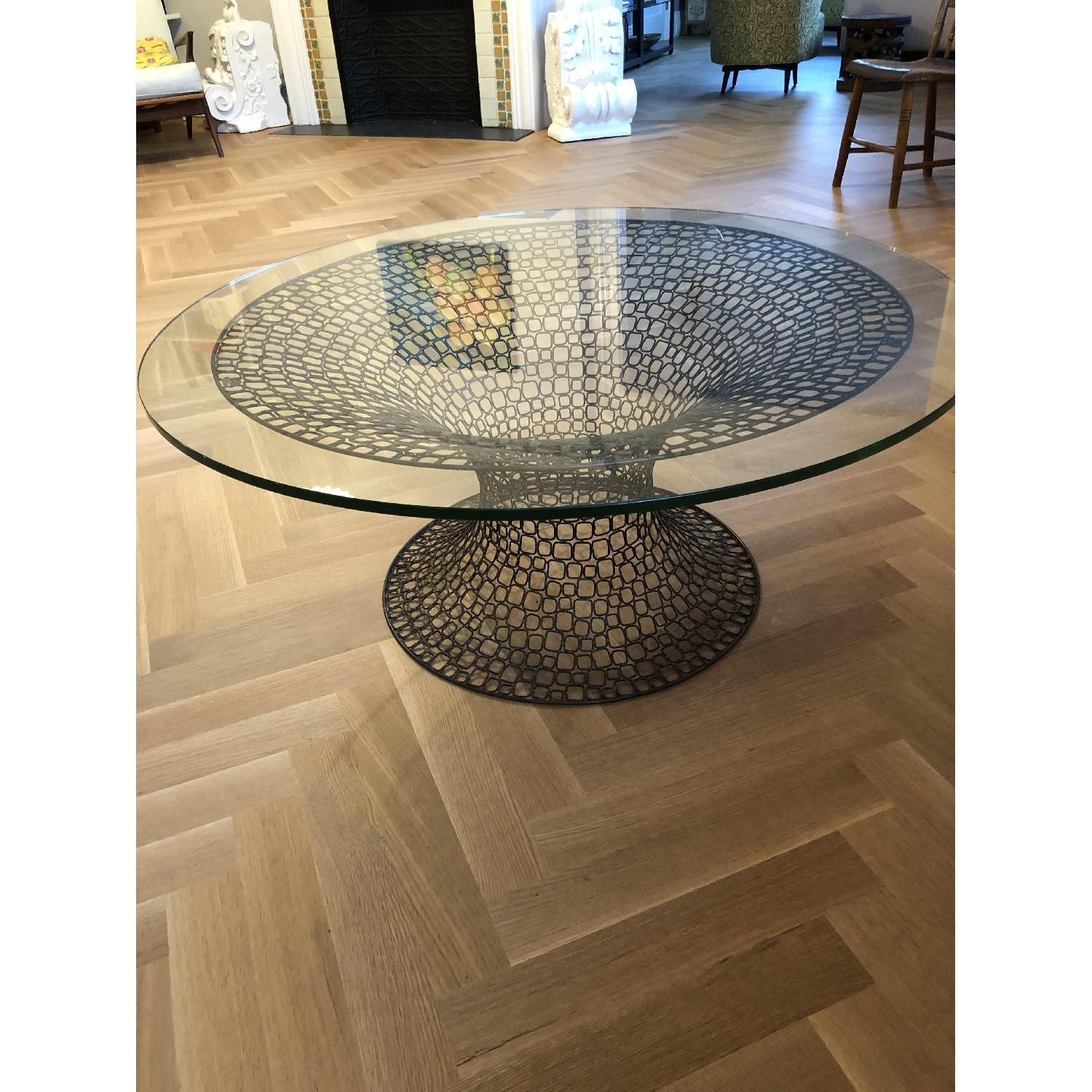 ... Mid Century Modern Glass Top Round Coffee Table 0 ...