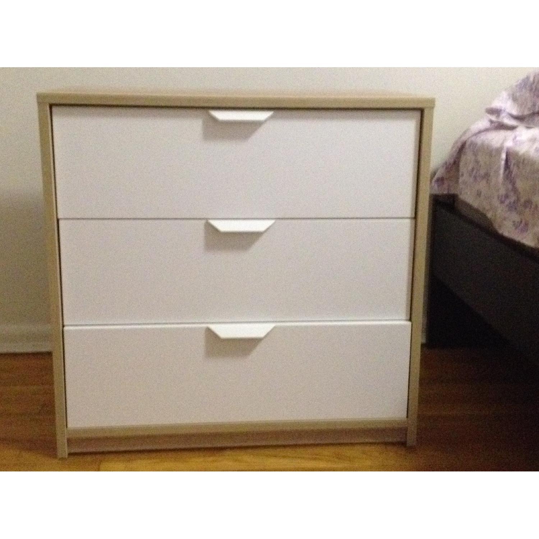 Ikea Askvoll 3 Drawer Chest In White Stained Oak Effect Aptdeco
