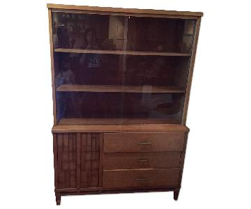Vintage Mid Century Style Display Case w/ Cabinet & Drawers