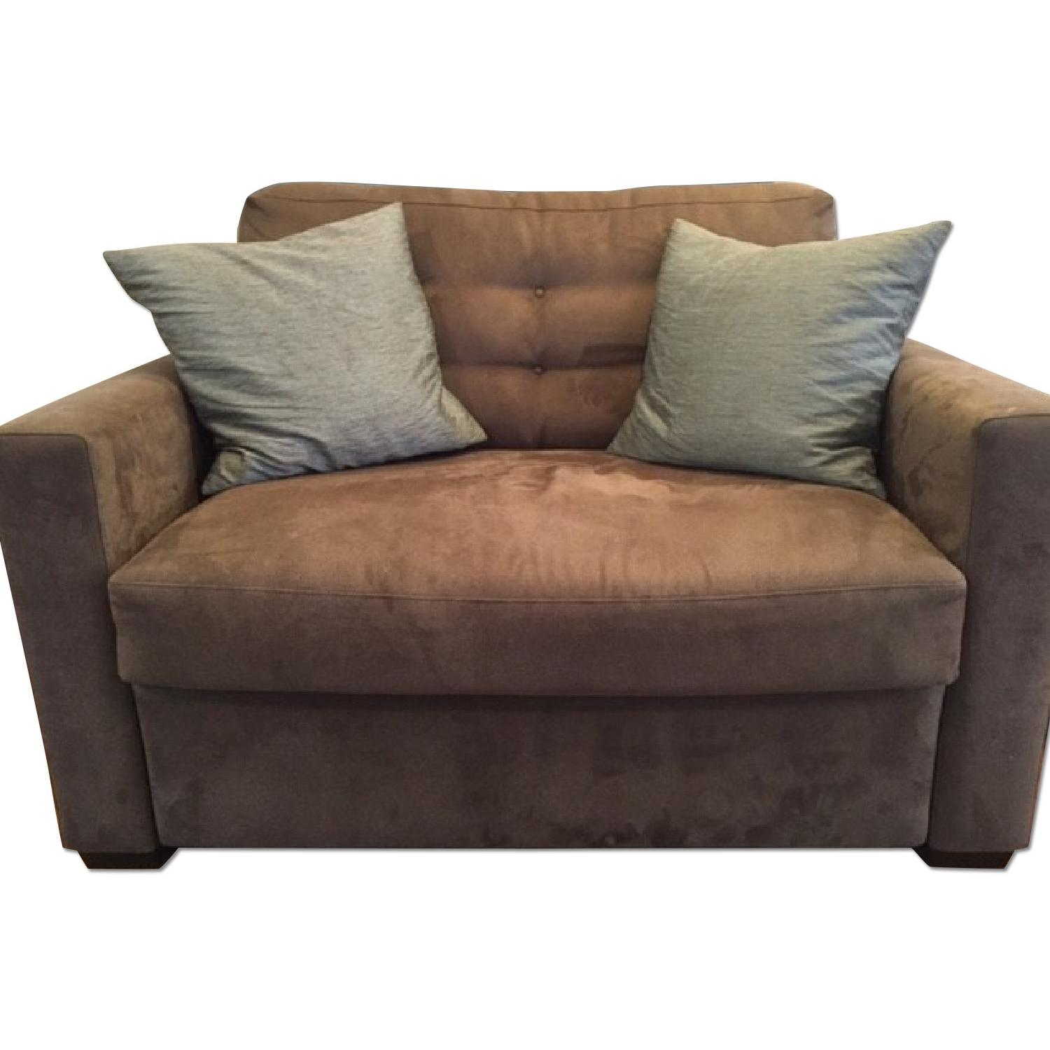Crate Barrel Tan Loveseat Twin Sleeper Sofa Aptdeco