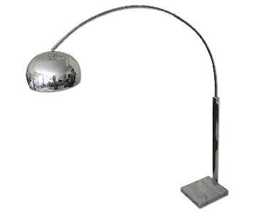 1960's Inspired Retro Arc Floor Lamp in Chrome w/ White Marble Base