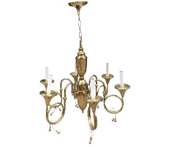 Hollywood Regency Style French Horn Brass Chandelier