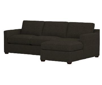 Crate & Barrel Davis Chaise Sectional Sofa w/ Ottoman