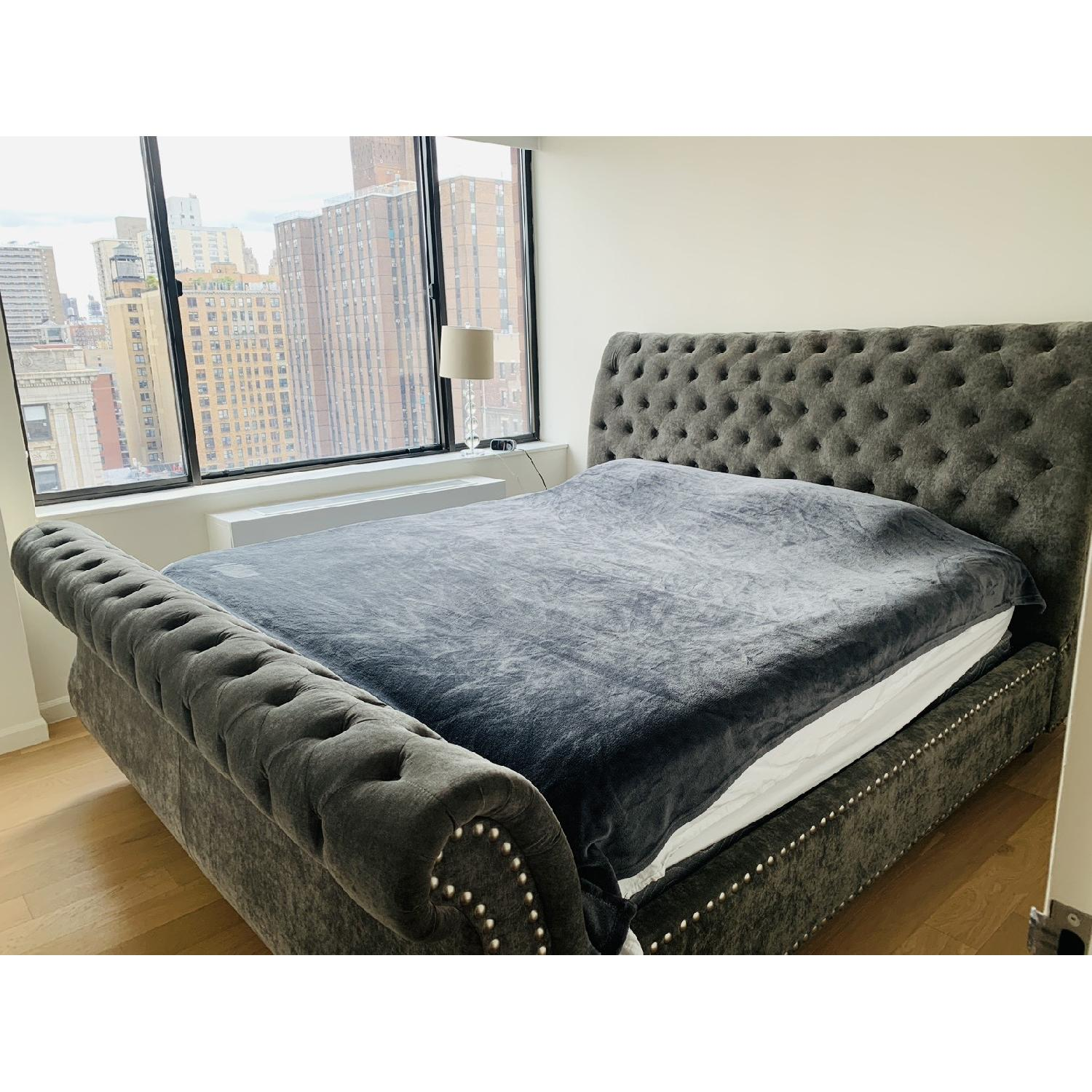 American Signature Ella King Upholstered Bed In Charcoal Aptdeco