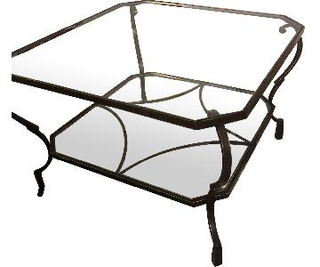 Crate & Barrel Glass & Iron Square Coffee Table