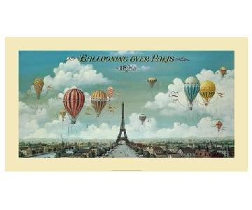 Ballooning Over Paris Poster Framed