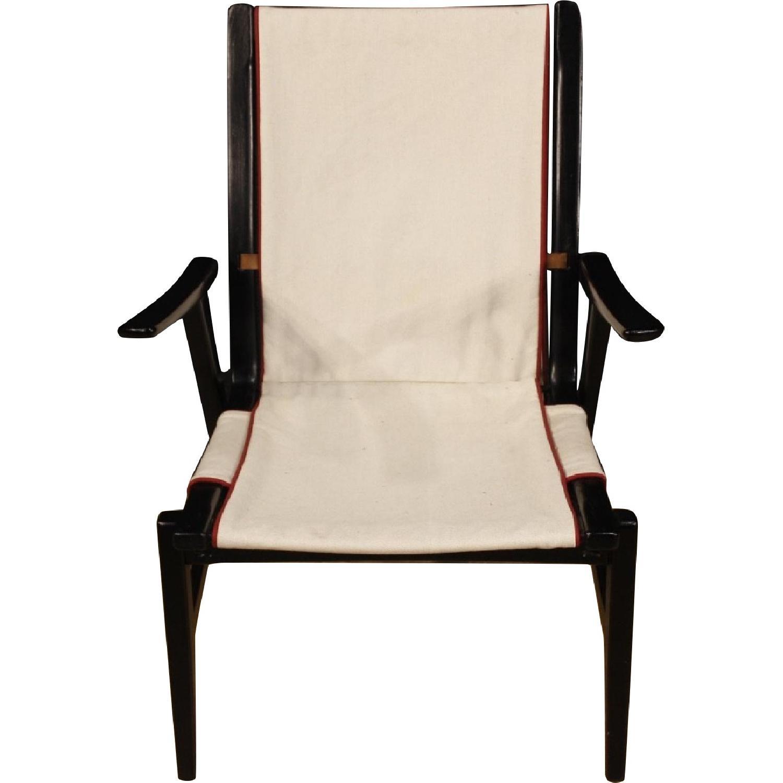 Vintage Wood & Fabric Italian Design Armchairs