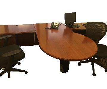 Wood 2 Person Desk