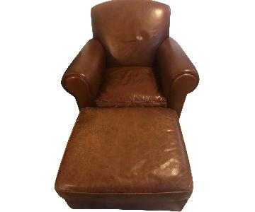 Crate & Barrel Leather Club Chair & Ottoman