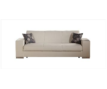 Istikbal Cream Faux Leather Sleeper Sofa w/ Storage