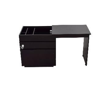 Crate & Barrel Black Wood Storage Desk