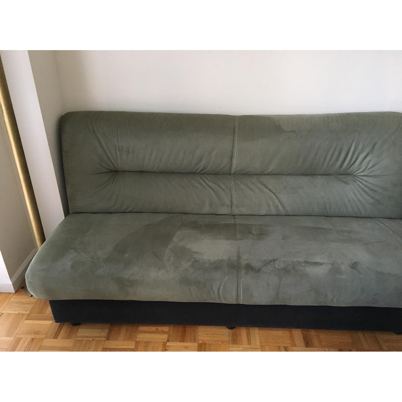 - Microsuede Sleeper Sofa W/ Storage - AptDeco
