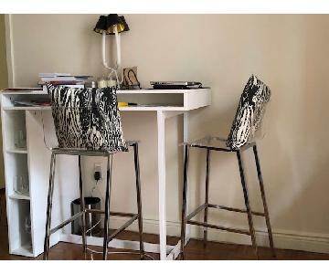 CB2 Public White High Dining Table w/ 2 Vapor Bar Stools