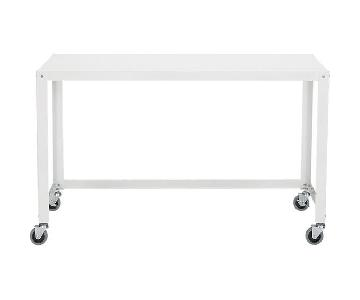 CB2 Go-Cart White Rolling Desk & Vapor Acrylic Desk Chair