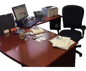 Riviera Executive Desk w/ File Cabinet & Storage Drawers