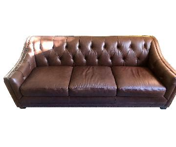 Tufted Faux Leather Sofa with Nailhead Trim