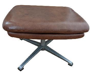 Overman Brown Leather Mid Century Modern Ottoman
