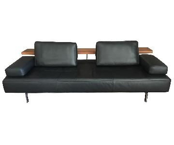 Leather Sofa w/ Attached Wooden Drinks Panel