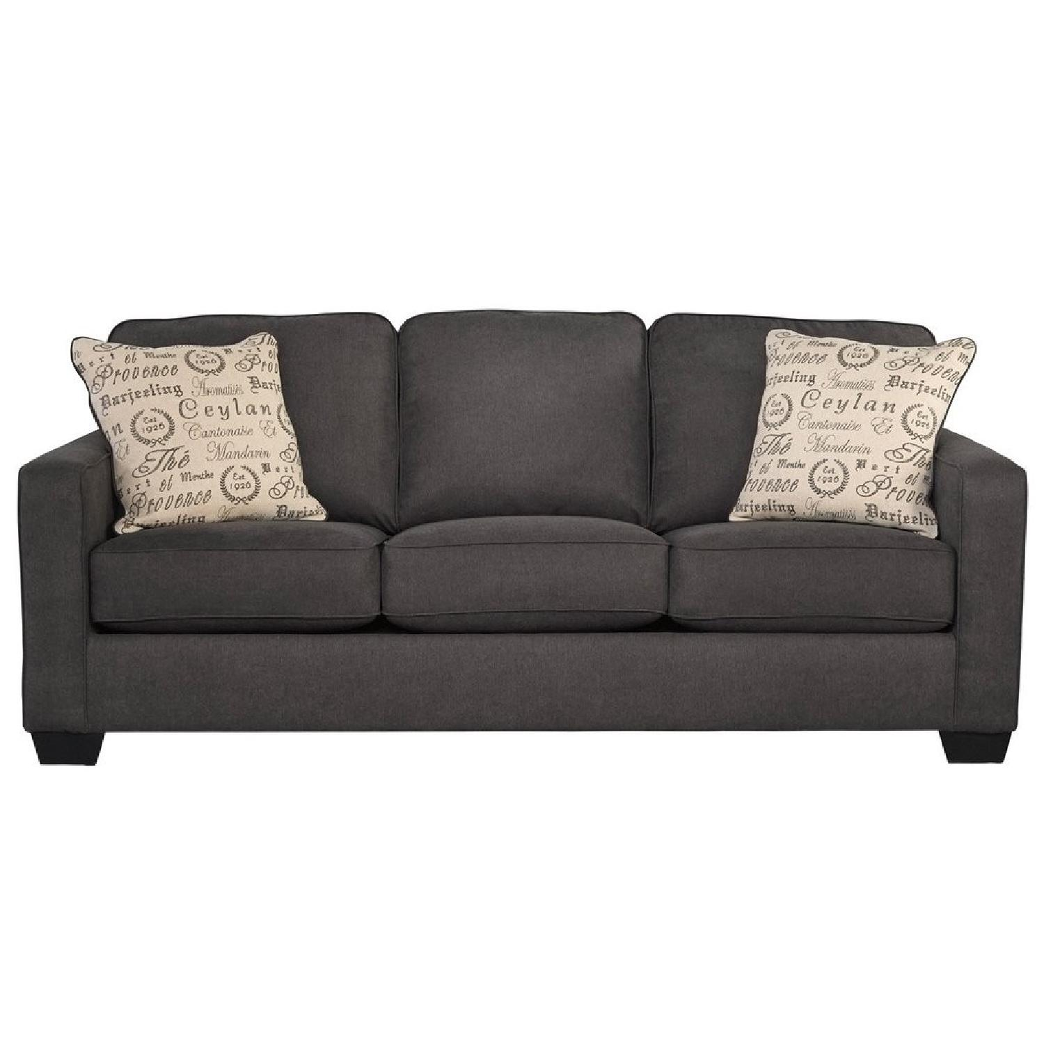 Ashley Alenya Contemporary 3 Seater Sofa In Charcoal Fabric ...