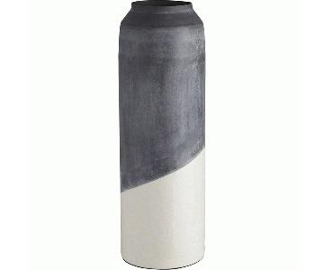 CB2 White & Gray Metal Floor Vase