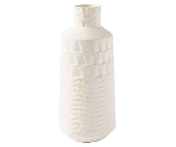 West Elm Pressed Pattern Vases in White