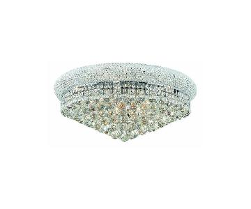 12-Light Single-Tier Flush Mount Crystal Chandelier