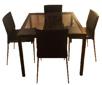 Room & Board Dining Table w/ 4 Leather Chairs