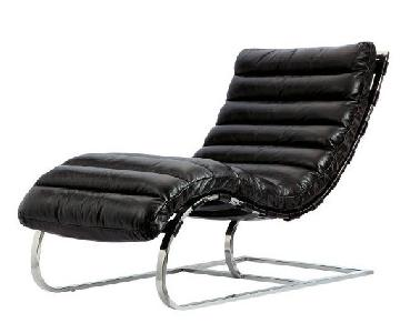 Timothy Oulton Black Leather & Aluminum Chaise Lounge