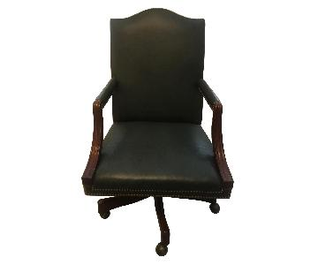 Scully & Scully Leather & Wood Swivel Office Chair