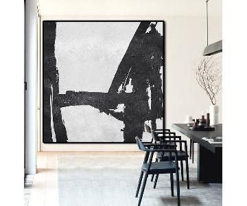 Black & White Unframed Abstract Painted Canvas