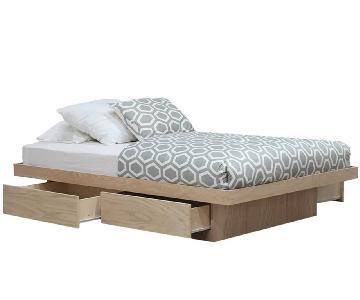 Gothic Cabinet Craft Oak Queen Platform Bed w/ 4 Drawers