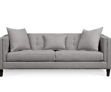 Macy's Braylei Track Arm Sofa in Soft Grey Fabric
