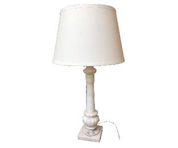Vintage Carved Alabaster Marble Table Lamp