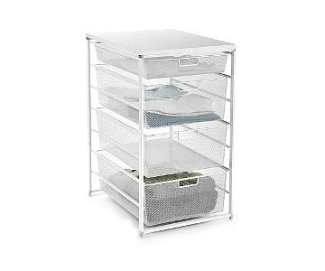 Container Store Elfa 4 Mesh Drawer Unit w/ Wood Top