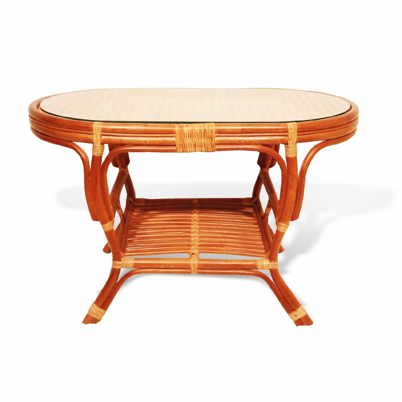 Pelangi Rattan Wicker Colonial Oval Coffee Table w/ Glass