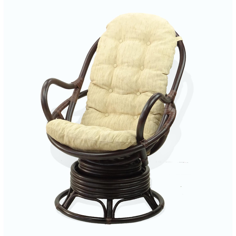 Java Swivel Rocking Dark Brown Rattan Wicker Chair