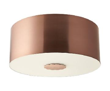 CB2 Blanche Flushmount Light Fixtures in Polished Copper