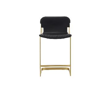 CB2 Rake Leather Brass Bar Stools