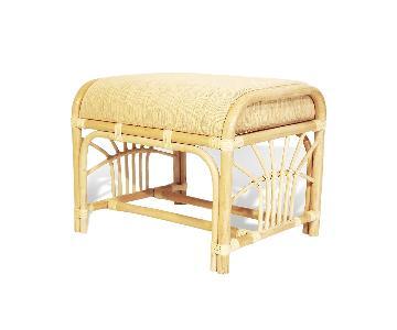 Krit Rattan Wicker Ottoman w/ Cushion in White Wash