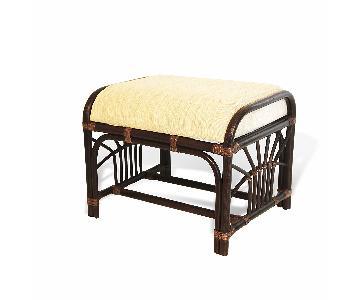 Krit Rattan Wicker Ottoman w/ Cushion in Dark Brown