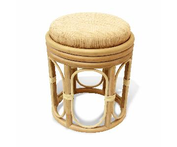 Pier Handmade Rattan Wicker Vanity Stool in White Wash