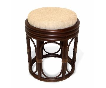 Pier Handmade Rattan Wicker Vanity Stool in Dark Brown