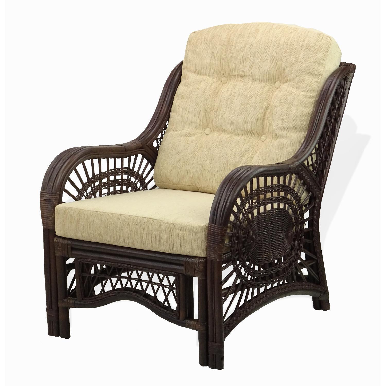 Malibu Dark Brown Rattan Wicker Lounge Armchair w/ Cushions